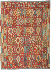 Kilim Afghan Old Style Tappeto 253X348 Orientale Tessuto A Mano Rosso Scuro/Beige Scuro Grandi (Lana, Afghanistan)