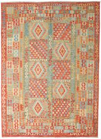 Kilim Afghan Old Style Tappeto 251X346 Orientale Tessuto A Mano Beige Scuro/Verde Chiaro Grandi (Lana, Afghanistan)