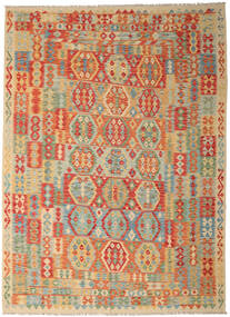 Kilim Afghan Old Style Tappeto 250X346 Orientale Tessuto A Mano Beige Scuro/Verde Chiaro Grandi (Lana, Afghanistan)