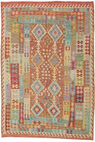 Kilim Afghan Old Style Tappeto 208X306 Orientale Tessuto A Mano Marrone Chiaro/Beige Scuro (Lana, Afghanistan)