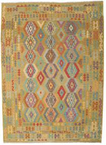 Kilim Afghan Old Style Tappeto 246X343 Orientale Tessuto A Mano Verde Oliva/Marrone (Lana, Afghanistan)