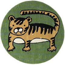 Cool Cat - Giallo Tappeto Ø 150 Moderno Rotondo Verde Scuro/Verde Oliva (Lana, India)
