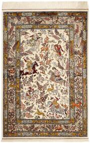 Qum Di Seta Tappeto 98X148 Orientale Fatto A Mano Beige/Marrone (Seta, Persia/Iran)