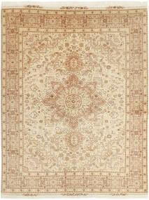 Tabriz 50 Raj Tappeto 152X202 Orientale Tessuto A Mano Beige/Beige Scuro (Lana/Seta, Persia/Iran)