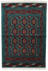 Turkaman Tappeto 105X150 Orientale Fatto A Mano Nero/Turchese Scuro (Lana, Persia/Iran)