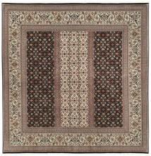 Tabriz 50 Raj Con Seta Tappeto 198X205 Orientale Fatto A Mano Quadrato Marrone Scuro/Grigio Chiaro (Lana/Seta, Persia/Iran)