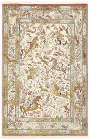 Qum Di Seta Tappeto 132X203 Orientale Fatto A Mano Beige Scuro/Grigio Chiaro (Seta, Persia/Iran)