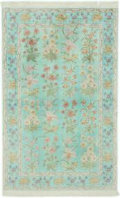 Qum Di Seta Tappeto 102X160 Orientale Fatto A Mano Verde Pastello/Grigio Chiaro (Seta, Persia/Iran)
