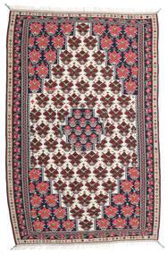 Kilim Senneh Tappeto 150X220 Orientale Tessuto A Mano Porpora Scuro/Grigio Chiaro (Lana, Persia/Iran)
