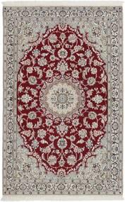 Nain 9La Tappeto 115X185 Orientale Fatto A Mano Grigio Chiaro/Rosso Scuro (Lana/Seta, Persia/Iran)