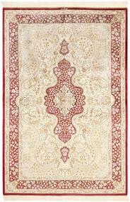 Qum Di Seta Tappeto 134X203 Orientale Fatto A Mano Beige/Rosa Chiaro (Seta, Persia/Iran)