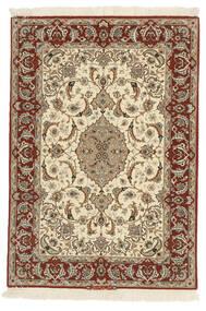 Isfahan Ordito In Seta Tappeto 110X158 Orientale Fatto A Mano Marrone/Beige (Lana/Seta, Persia/Iran)