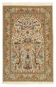 Isfahan Ordito In Seta Tappeto 115X170 Orientale Fatto A Mano Marrone Chiaro/Beige (Lana/Seta, Persia/Iran)