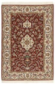Isfahan Ordito In Seta Tappeto 110X164 Orientale Fatto A Mano Marrone Scuro/Beige/Marrone Chiaro (Lana/Seta, Persia/Iran)