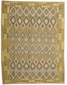 Kilim Afghan Old Style Tappeto 298X389 Orientale Tessuto A Mano Verde Oliva/Grigio Scuro Grandi (Lana, Afghanistan)