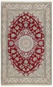 Nain 9La Tappeto 126X201 Orientale Fatto A Mano Grigio Chiaro/Rosso Scuro (Lana/Seta, Persia/Iran)