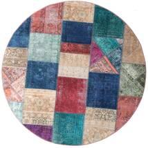 Patchwork - Persien/Iran Tappeto Ø 200 Moderno Fatto A Mano Rotondo Blu Scuro/Porpora (Lana, Persia/Iran)