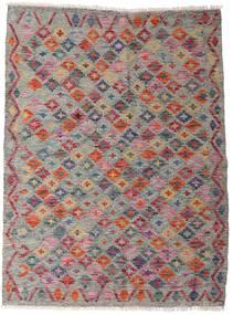 Kilim Afghan Old Style Tappeto 105X140 Orientale Tessuto A Mano Grigio Chiaro/Marrone Scuro (Lana, Afghanistan)