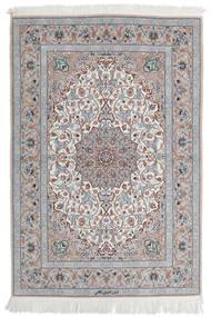 Isfahan Ordito In Seta Tappeto 110X160 Orientale Fatto A Mano Grigio Chiaro/Bianco/Creme (Lana/Seta, Persia/Iran)
