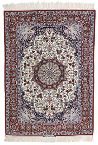 Isfahan Ordito In Seta Firmato Intashari Tappeto 113X158 Orientale Fatto A Mano Grigio Chiaro/Marrone Scuro (Lana/Seta, Persia/Iran)