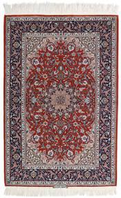 Isfahan Ordito In Seta Tappeto 110X165 Orientale Fatto A Mano Grigio Chiaro/Rosso Scuro (Lana/Seta, Persia/Iran)
