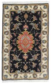 Tabriz 60 Raj Ordito In Seta Tappeto 73X120 Orientale Fatto A Mano Nero/Beige Scuro (Lana/Seta, Persia/Iran)