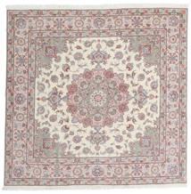 Tabriz 60 Raj Ordito In Seta Tappeto 198X201 Orientale Fatto A Mano Quadrato Grigio Chiaro/Beige (Lana/Seta, Persia/Iran)