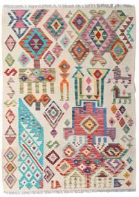 Kilim Afghan Old Style Tappeto 94X129 Orientale Tessuto A Mano Grigio Chiaro/Rosa Chiaro (Lana, Afghanistan)