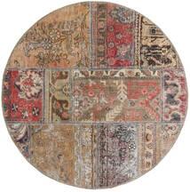 Patchwork - Persien/Iran Tappeto Ø 100 Moderno Fatto A Mano Rotondo Grigio Chiaro/Marrone/Rosso Scuro (Lana, Persia/Iran)