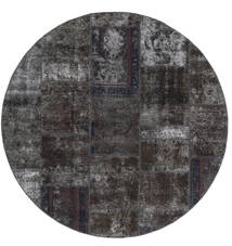 Patchwork - Persien/Iran Tappeto Ø 200 Moderno Fatto A Mano Rotondo Nero/Marrone (Lana, Persia/Iran)