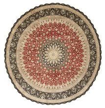 Qum Di Seta Tappeto Ø 203 Orientale Fatto A Mano Rotondo Marrone Chiaro/Beige Scuro (Seta, Persia/Iran)