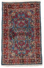 Kirman Tappeto 94X151 Orientale Fatto A Mano Rosso Scuro/Grigio Scuro (Lana, Persia/Iran)