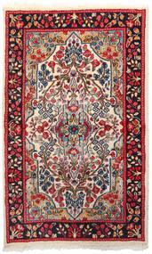 Kirman Tappeto 92X151 Orientale Fatto A Mano Rosso Scuro/Beige (Lana, Persia/Iran)