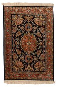 Cachemire Puri Di Seta Tappeto 63X93 Orientale Fatto A Mano Nero/Marrone Scuro (Seta, India)