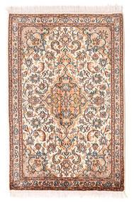 Cachemire Puri Di Seta Tappeto 64X100 Orientale Fatto A Mano Rosa Chiaro/Marrone Chiaro (Seta, India)