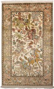 Cachemire Puri Di Seta Tappeto 94X152 Orientale Fatto A Mano Marrone/Beige Scuro (Seta, India)