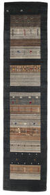 Loribaf Loom Tappeto 79X339 Moderno Fatto A Mano Alfombra Pasillo Nero/Grigio Chiaro (Lana, India)