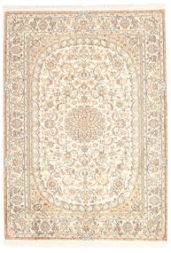 Cachemire Puri Di Seta Tappeto 128X181 Orientale Fatto A Mano Beige (Seta, India)