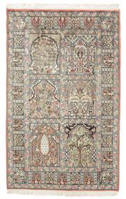Cachemire Puri Di Seta Tappeto 77X127 Orientale Fatto A Mano Marrone Scuro/Beige (Seta, India)
