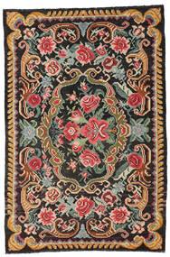 Kilim Rose Moldavia Tappeto 191X285 Orientale Tessuto A Mano Nero/Grigio Scuro (Lana, Moldavia)