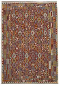 Kilim Afghan Old Style Tappeto 247X349 Orientale Tessuto A Mano Marrone Scuro/Nero (Lana, Afghanistan)