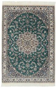 Nain 9La Tappeto 94X140 Orientale Fatto A Mano Nero/Grigio Scuro (Lana/Seta, Persia/Iran)