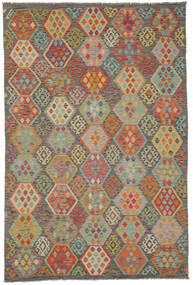 Kilim Afghan Old Style Tappeto 198X298 Orientale Tessuto A Mano Marrone Scuro/Verde Scuro (Lana, Afghanistan)