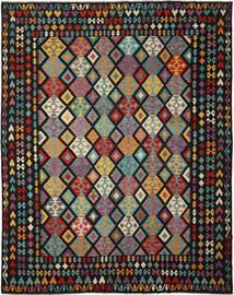 Kilim Afghan Old Style Tappeto 317X397 Orientale Tessuto A Mano Nero/Verde Scuro Grandi (Lana, Afghanistan)