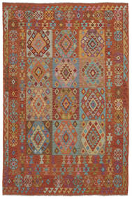 Kilim Afghan Old Style Tappeto 202X302 Orientale Tessuto A Mano Marrone Scuro (Lana, Afghanistan)