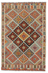 Kilim Afghan Old Style Tappeto 128X188 Orientale Tessuto A Mano Marrone Scuro/Verde Scuro (Lana, Afghanistan)